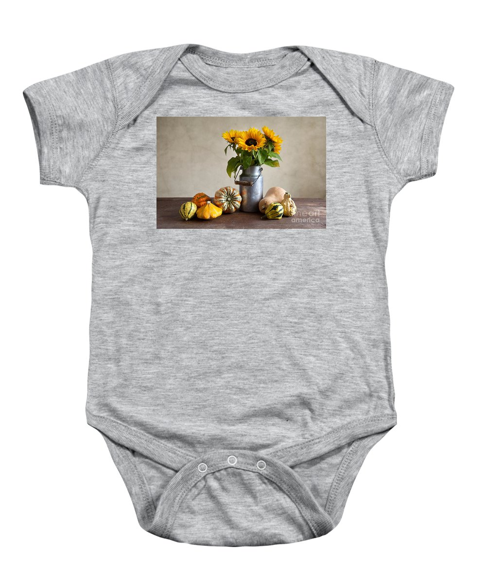 Autumn Baby Onesie featuring the photograph Pumpkins And Sunflowers by Nailia Schwarz
