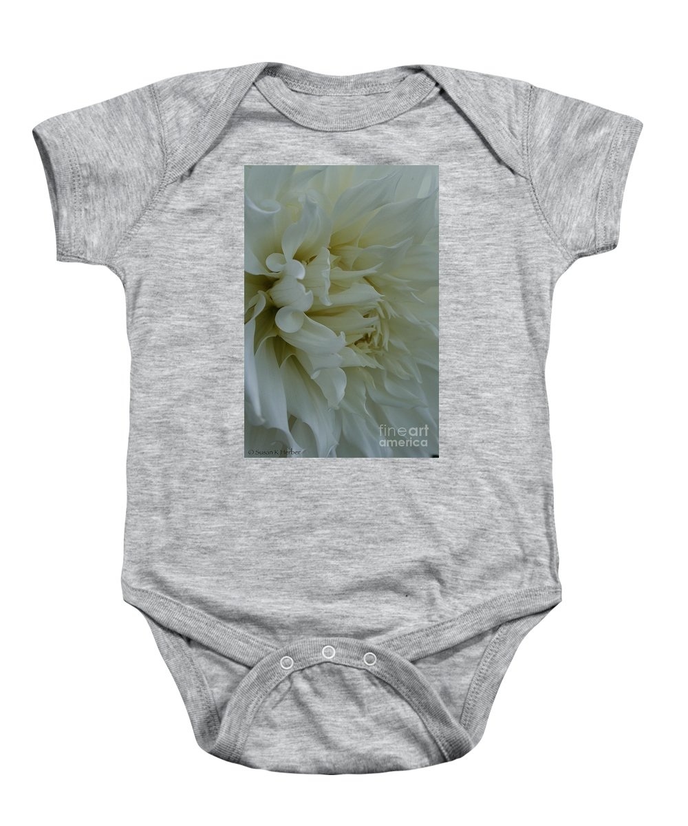 Landscape Baby Onesie featuring the photograph Pure Dahlia by Susan Herber