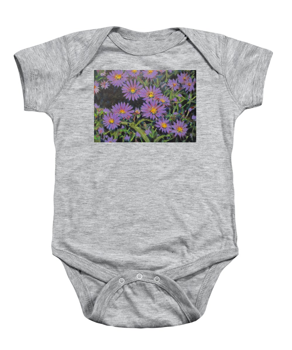 Asters Baby Onesie featuring the painting Purple Asters by Usha Shantharam