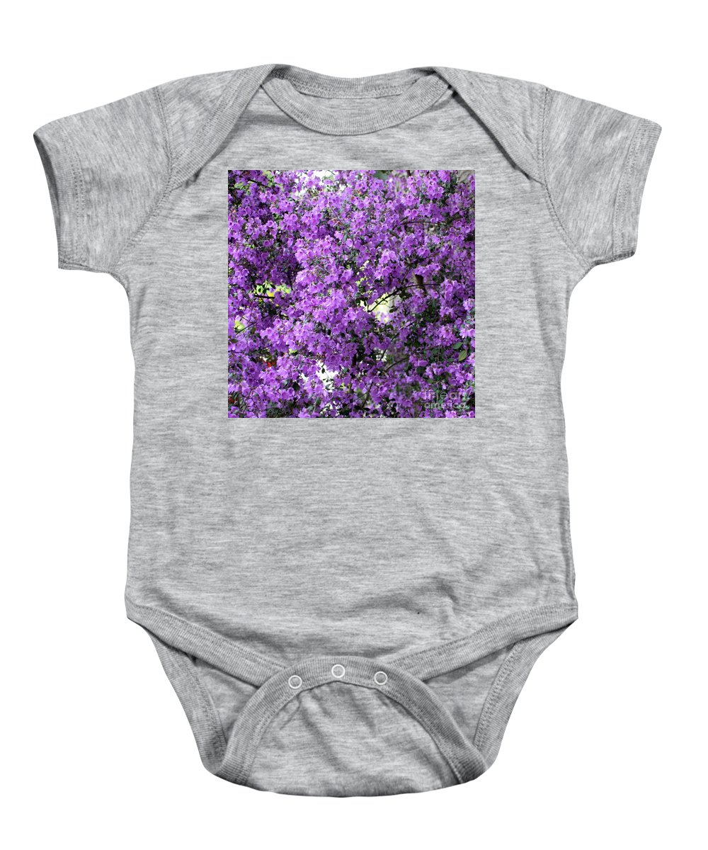 Purple Flowers Baby Onesie featuring the photograph Purple Screen Square by Carol Groenen