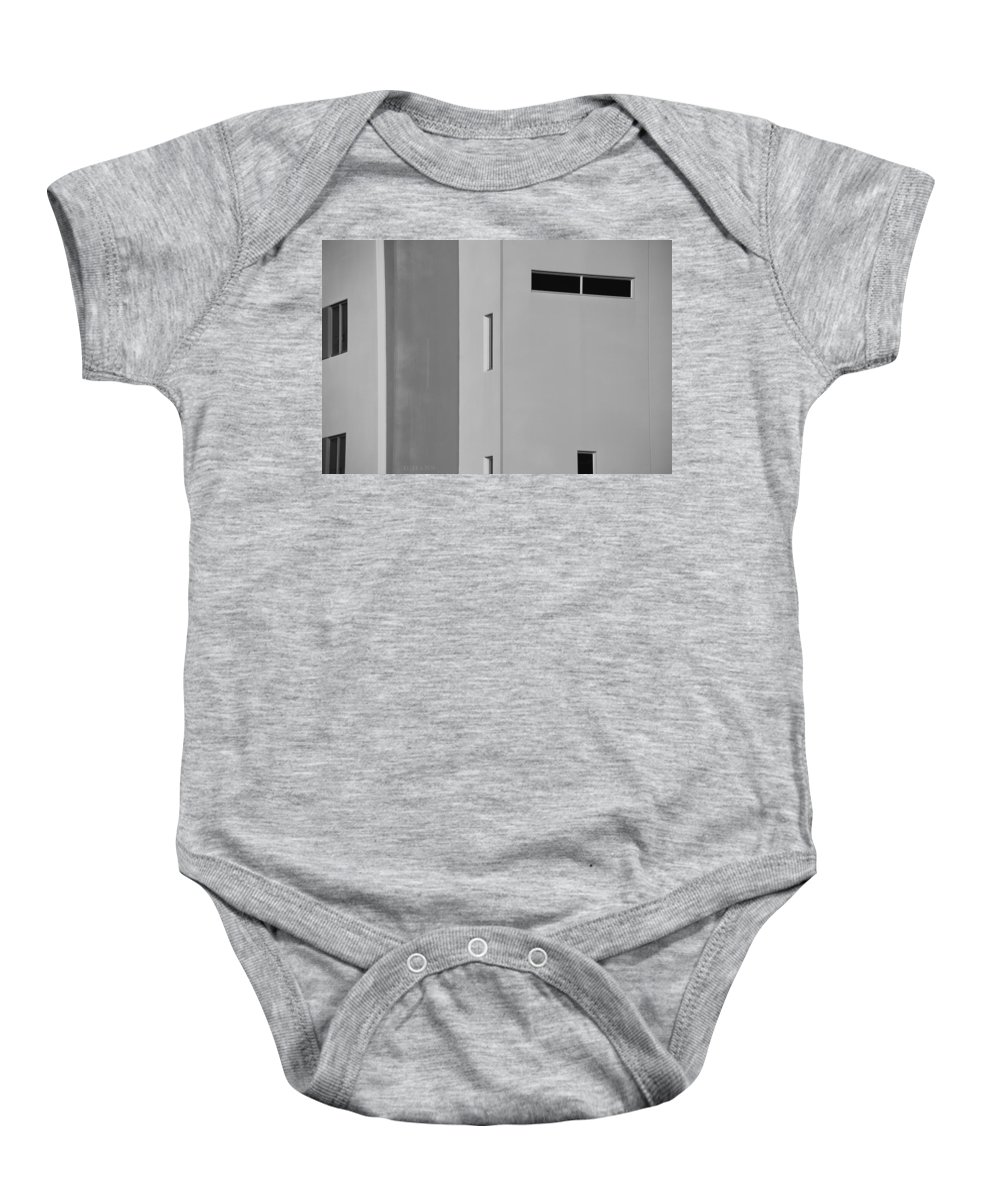 Architecture Baby Onesie featuring the photograph Q W School In Black And White by Rob Hans