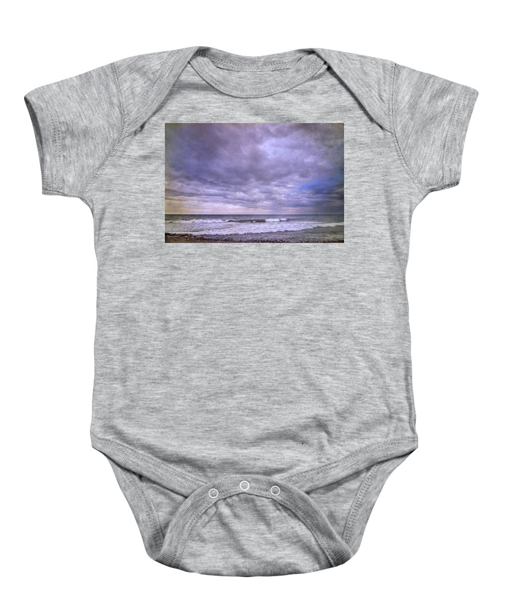 Purple Baby Onesie featuring the photograph Rain Storm At The Sea by Guido Montanes Castillo