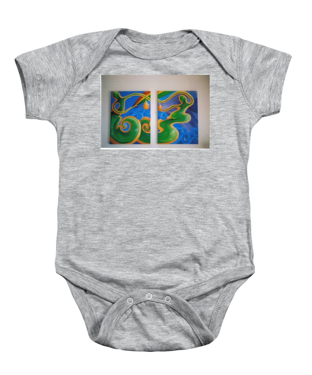 Baby Onesie featuring the painting Rainbow Healing For The Family by Catt Kyriacou
