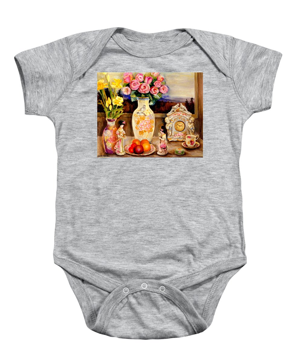 Baby Onesie featuring the painting Red Roses Yellow Daffodils In Hand Painted Oriental Antique Vases With Fruit Plate Doves And Angels by Carole Spandau