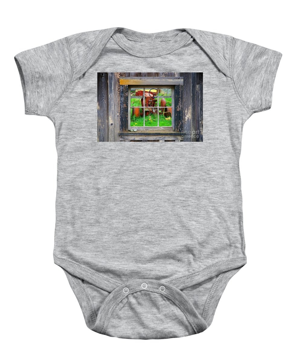 Window Baby Onesie featuring the photograph Red Tractor Thru Old Window by Randy Harris