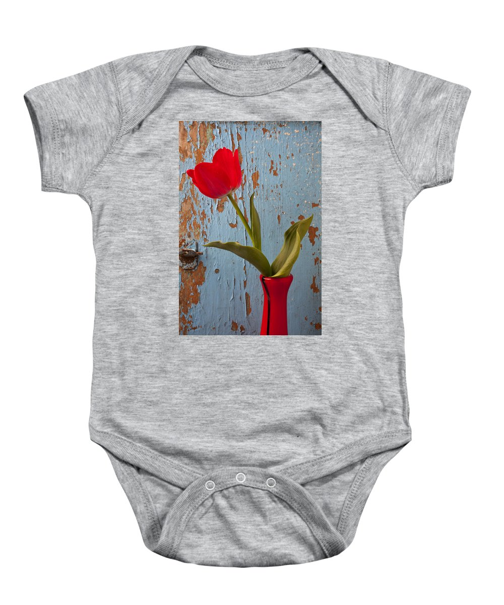 Red Baby Onesie featuring the photograph Red Tulip Bending by Garry Gay