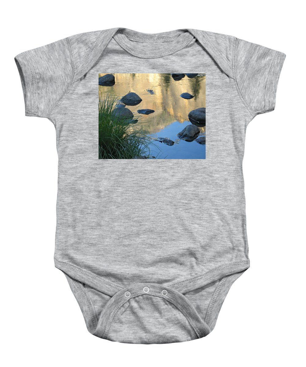 Merced River Baby Onesie featuring the photograph Reflecting Peaks In The Merced River by Greg Matchick