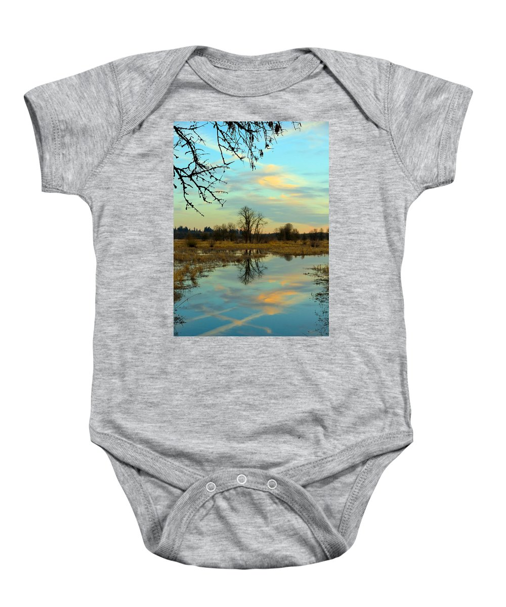 Ridgefield Wildlife Reserse Baby Onesie featuring the photograph Reflections by Athena Mckinzie