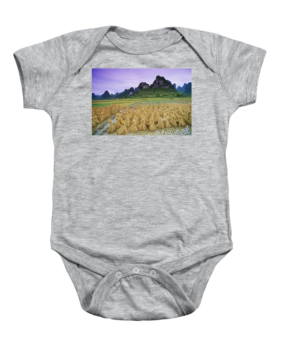 Agriculture Baby Onesie featuring the photograph Rice, Yangshuo, Guangxi, China by Bilderbuch
