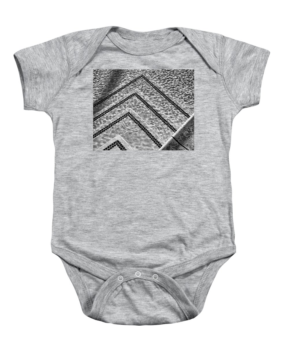 Pool Baby Onesie featuring the photograph Ripple Effect Bw Palm Springs by William Dey
