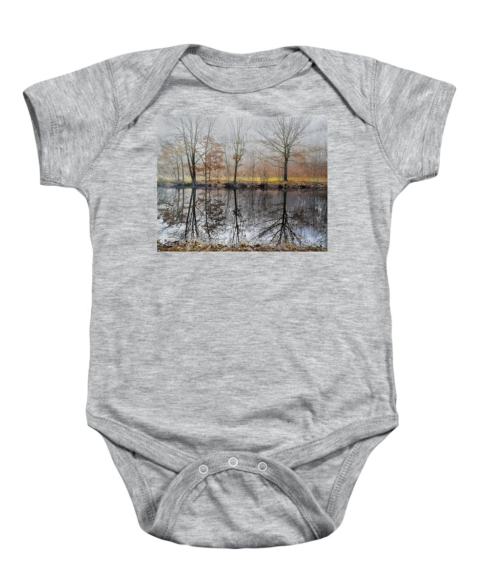 Landscape Baby Onesie featuring the photograph River Reflections by Fran Gallogly