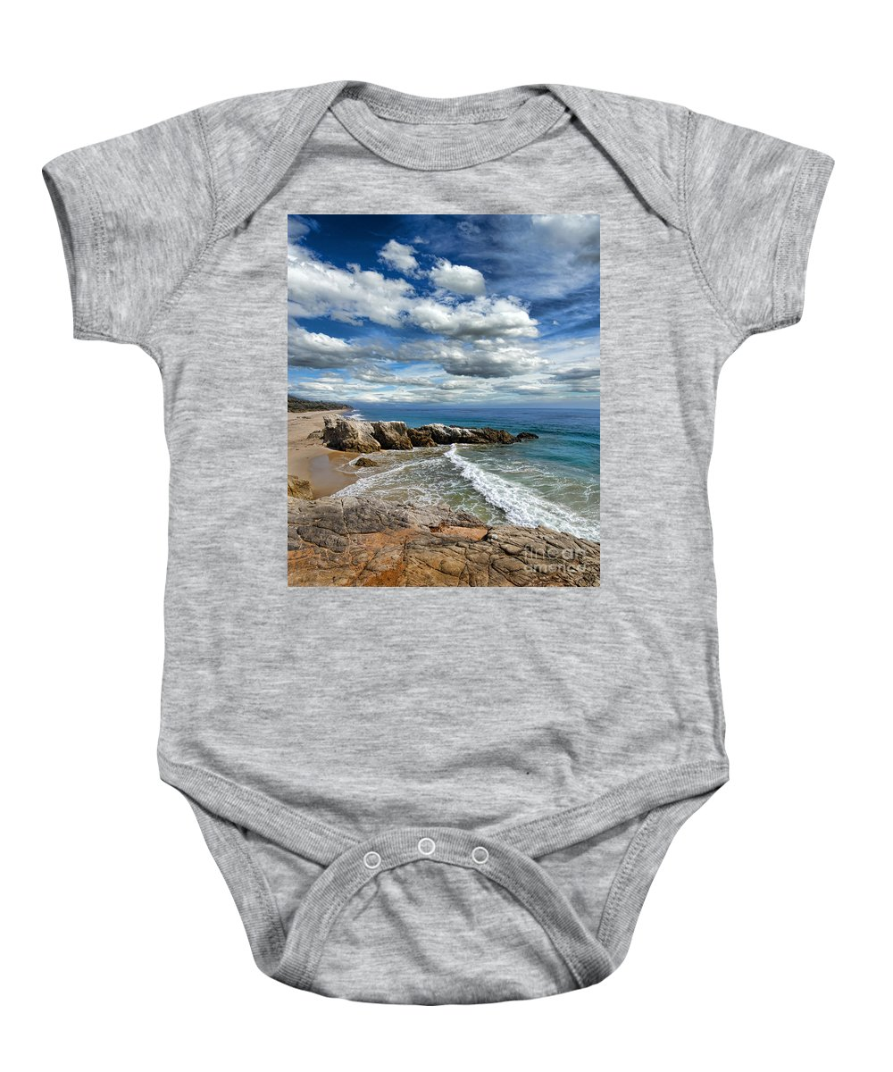 Beach Baby Onesie featuring the photograph Rocky Coast In Malibu California by Jill Battaglia