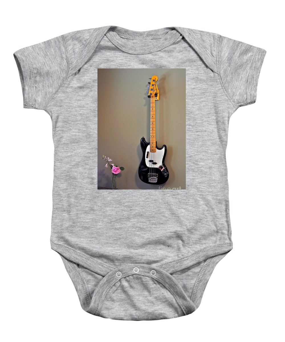 Rose Photographs Baby Onesie featuring the photograph Rose And Bass Guitar by Catherine Conroy