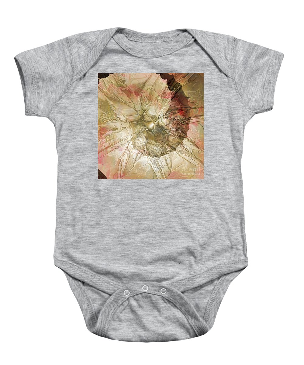 Abstract Baby Onesie featuring the digital art Rose Petal Highway by Deborah Benoit