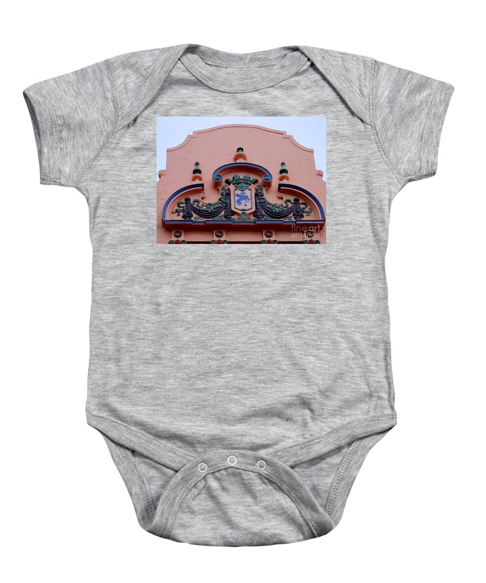 Royal Hawaiian Hotel Baby Onesie featuring the photograph Royal Hawaiian Hotel Entry Facade by Mary Deal