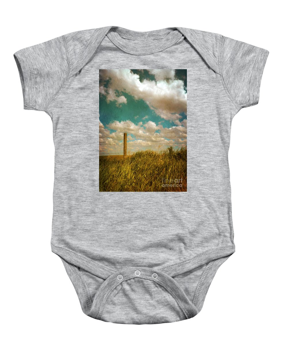 Wire Baby Onesie featuring the photograph Rural Barbed Wire Fence by Jill Battaglia