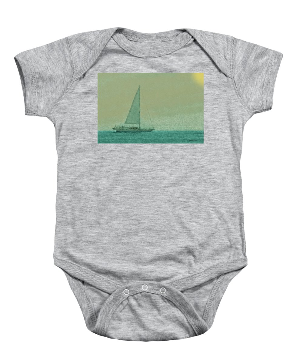 Boats Baby Onesie featuring the digital art Sailing The Coast by Ernie Echols