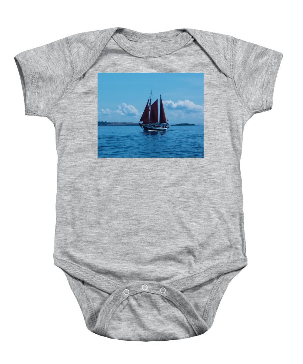 Boat Baby Onesie featuring the photograph Sails Off The San Juans by Terry Fiala