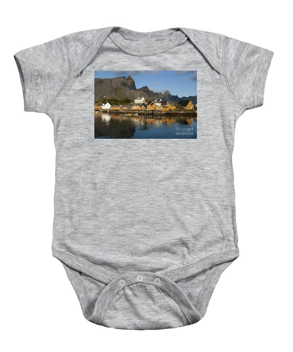 Norway Baby Onesie featuring the photograph Sakrisoy Fishermen's Village by Heiko Koehrer-Wagner