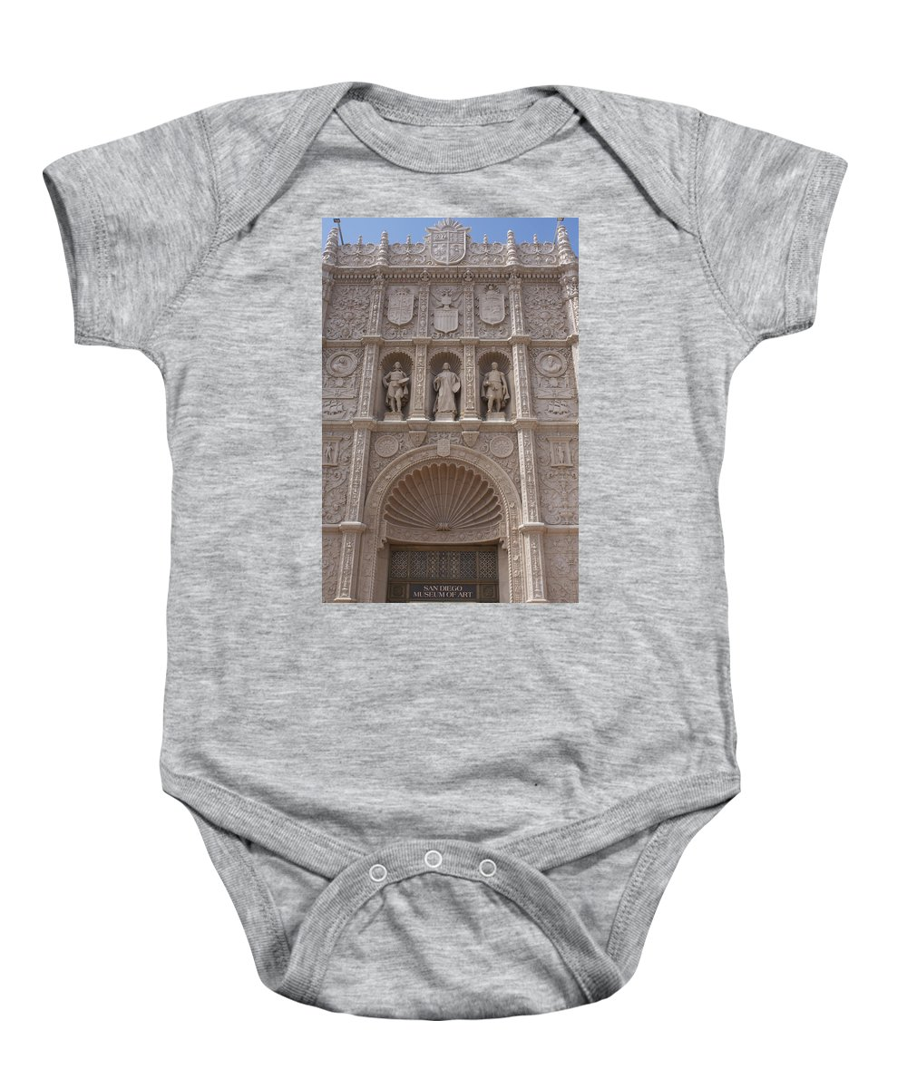 San Diego Baby Onesie featuring the photograph San Diego Museum Of Art by Linda Dunn