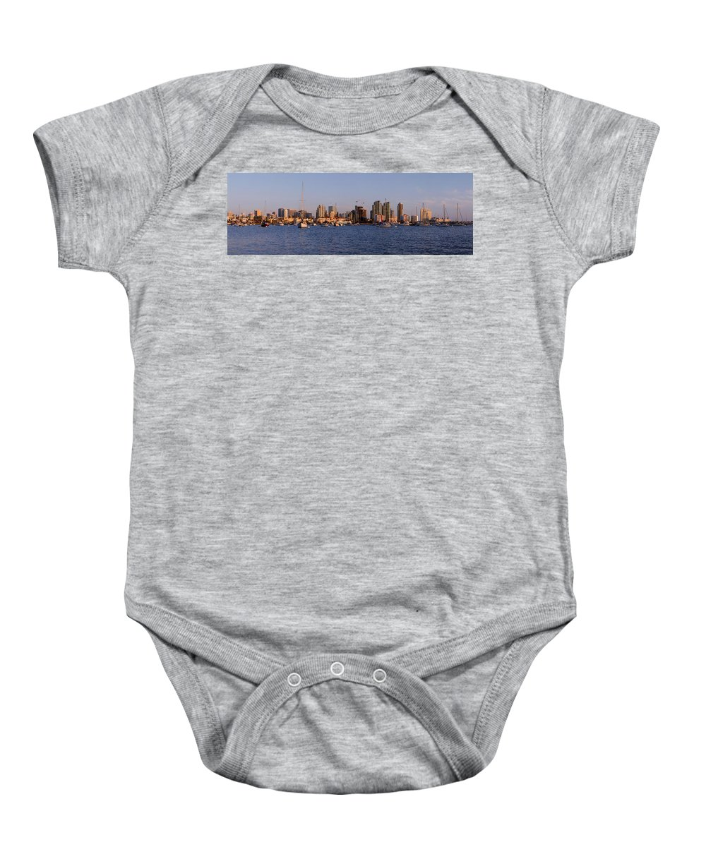 Places Baby Onesie featuring the photograph San Diego Skyline Pano by Geoffrey Bolte