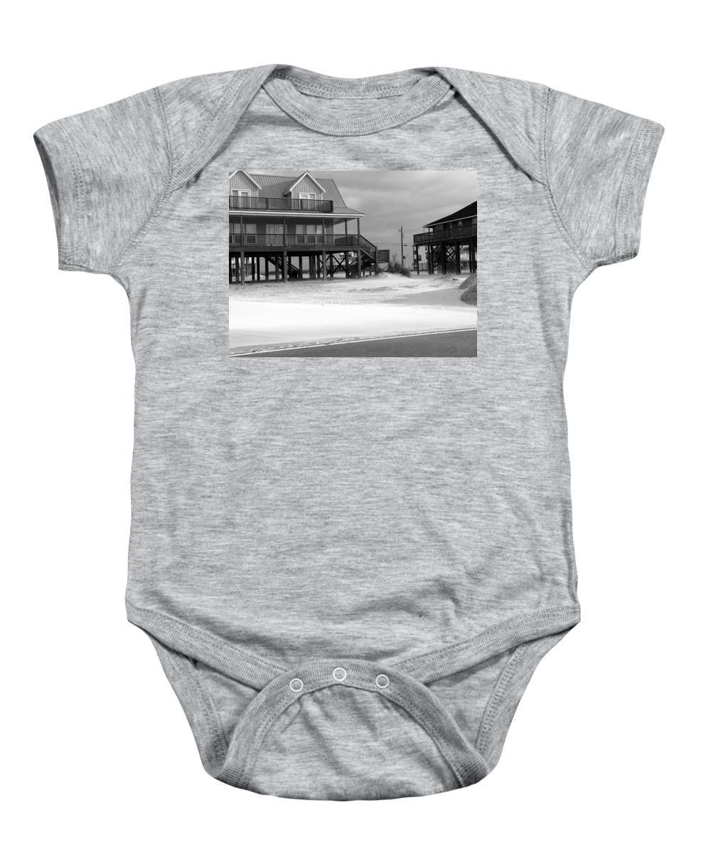 Houses Baby Onesie featuring the photograph Sand And Stilts by David Bearden