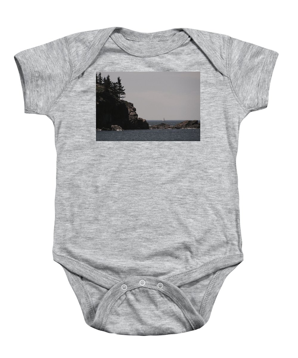 Sand Beach Baby Onesie featuring the photograph Sand Beach Cove by Jeff Heimlich