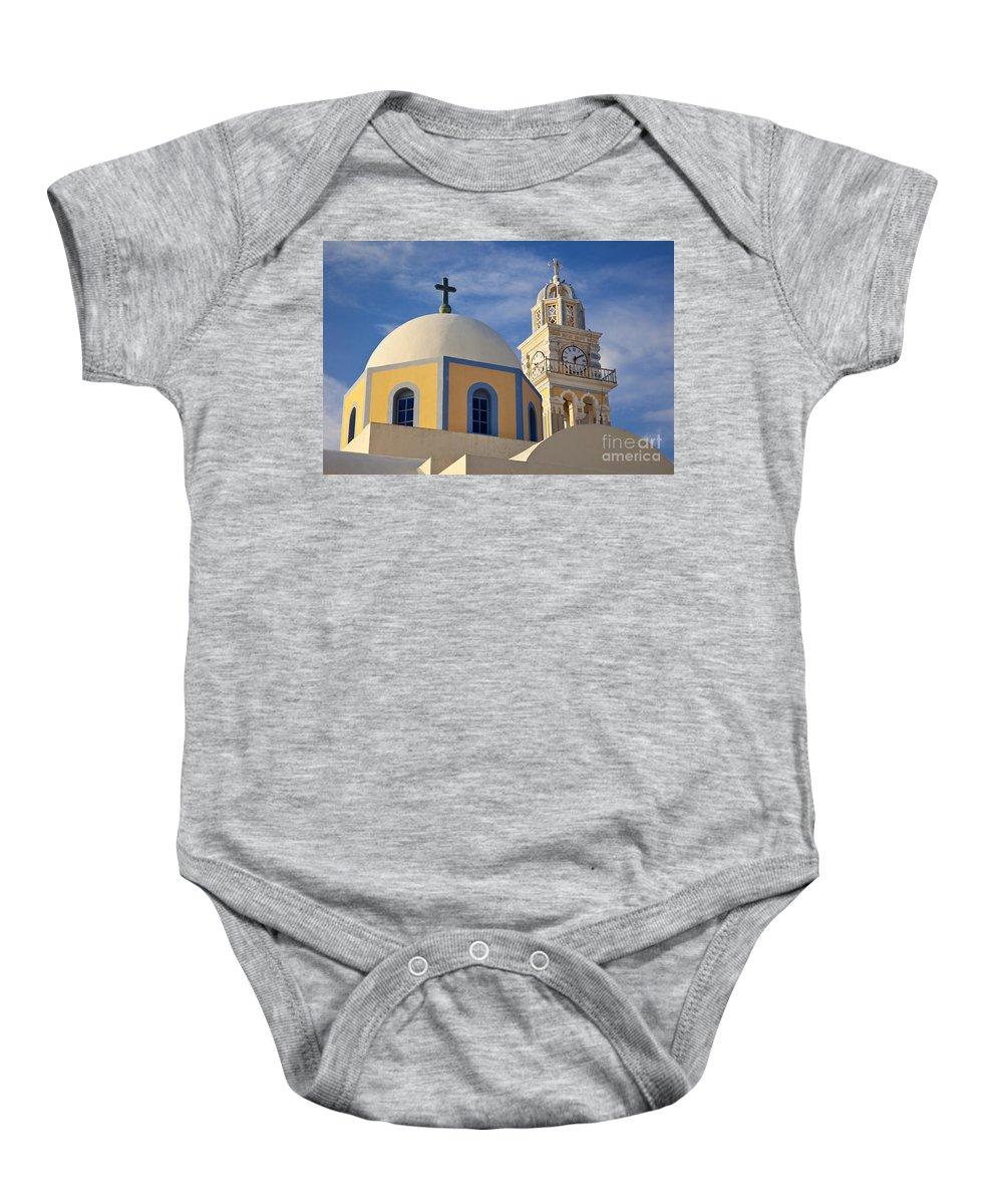 Santorini Baby Onesie featuring the photograph Santorini Church by Brian Jannsen