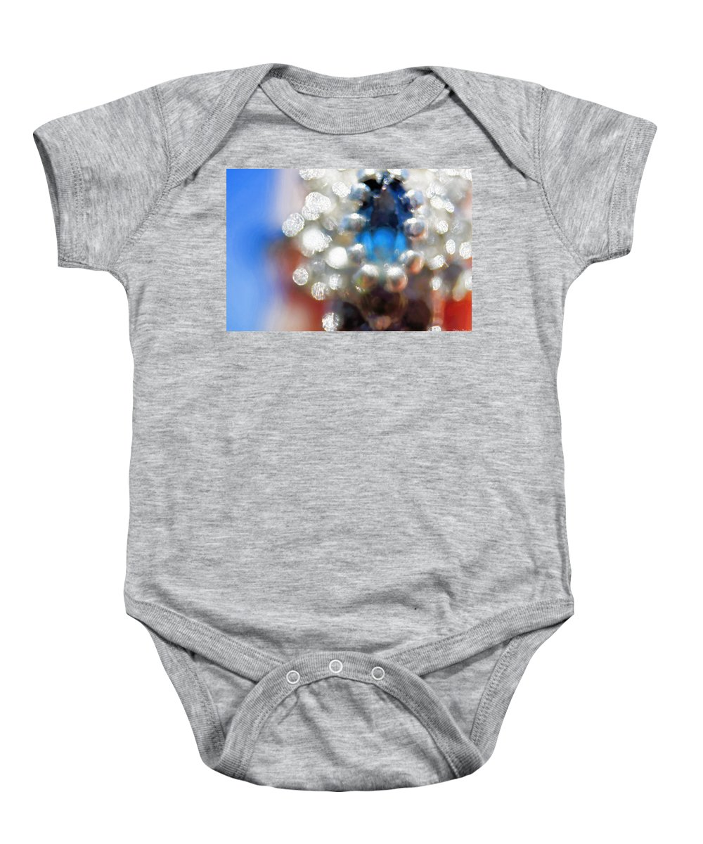 Still Life Baby Onesie featuring the photograph Saphire Sparkle by Debbie Portwood