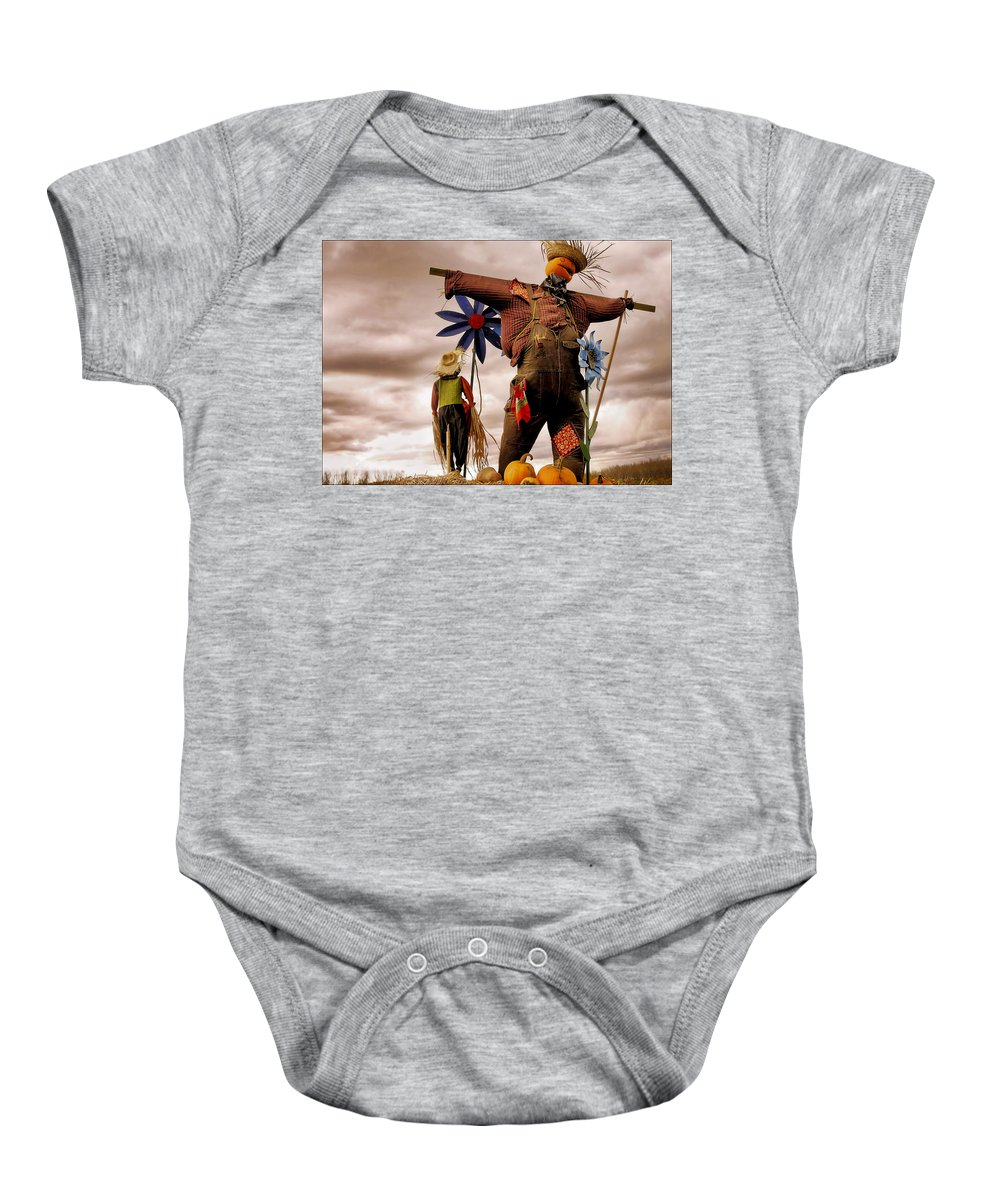 Scarecrow Baby Onesie featuring the digital art Scarecrow by Diane Dugas