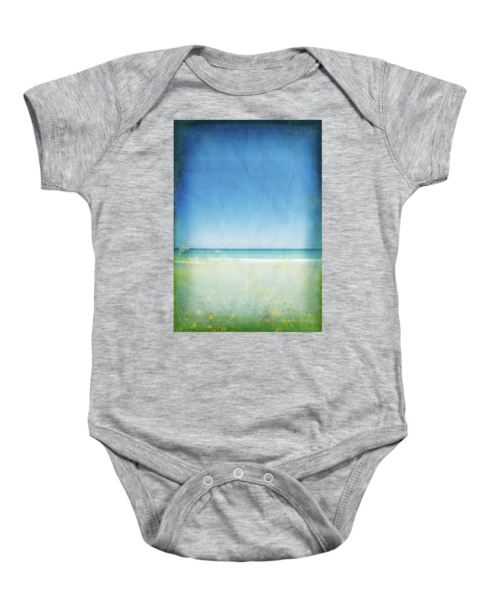 Abstract Baby Onesie featuring the photograph Sea And Sky On Old Paper by Setsiri Silapasuwanchai