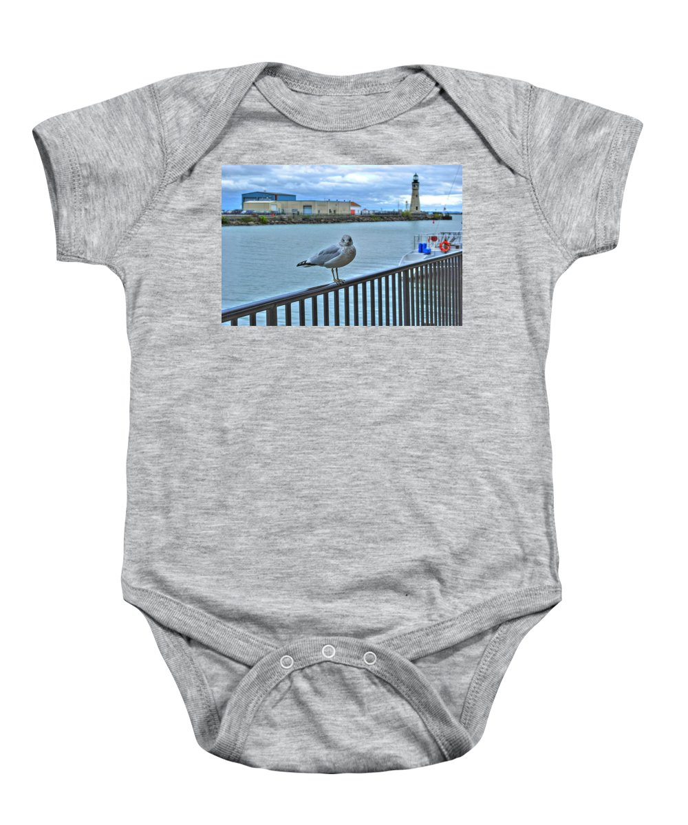 Baby Onesie featuring the photograph Seagull At Lighthouse by Michael Frank Jr