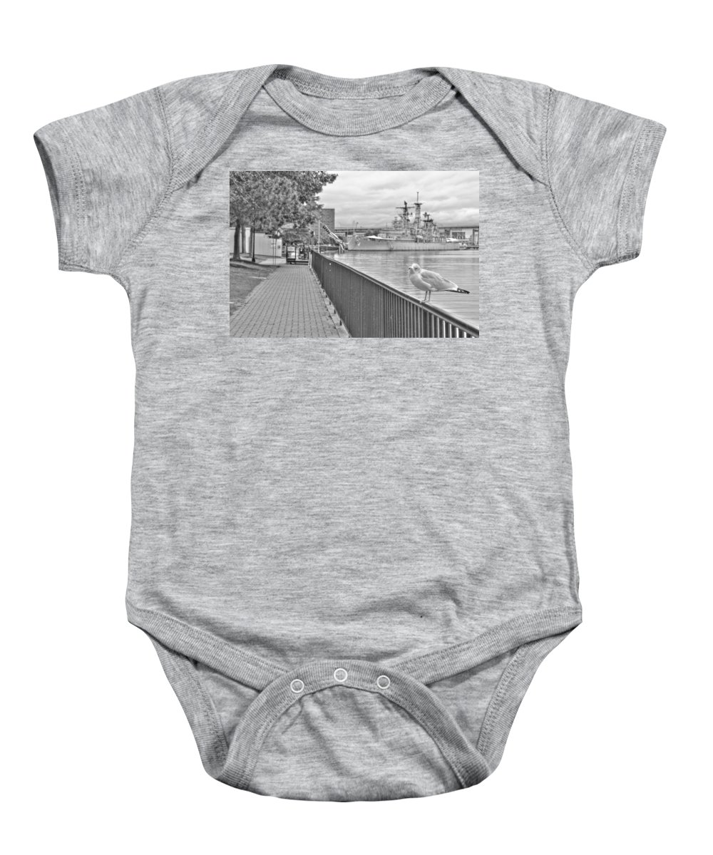 Baby Onesie featuring the photograph Seagull At The Naval And Military Park by Michael Frank Jr