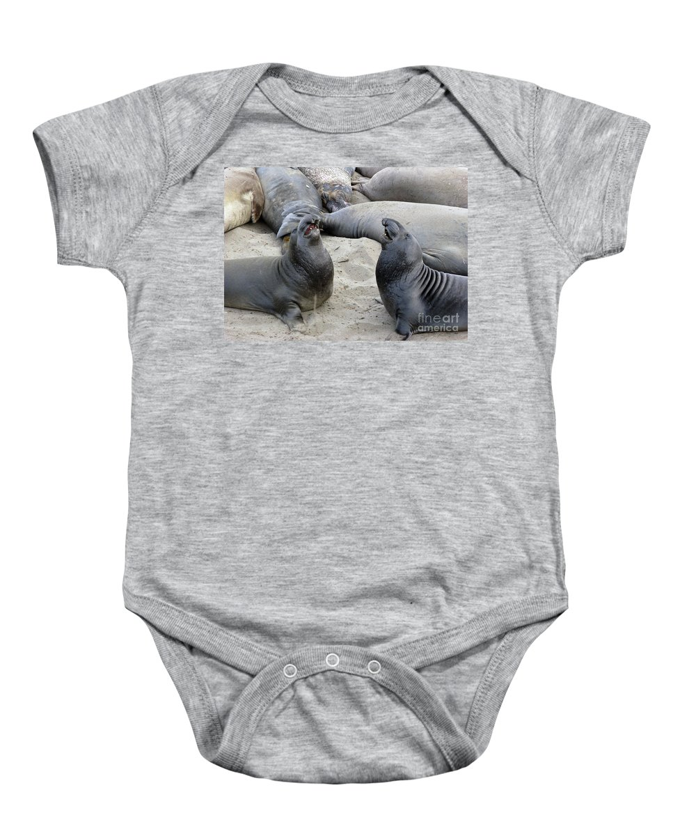 Seal Baby Onesie featuring the photograph Seal Spa. Men's Talk2 by Ausra Huntington nee Paulauskaite