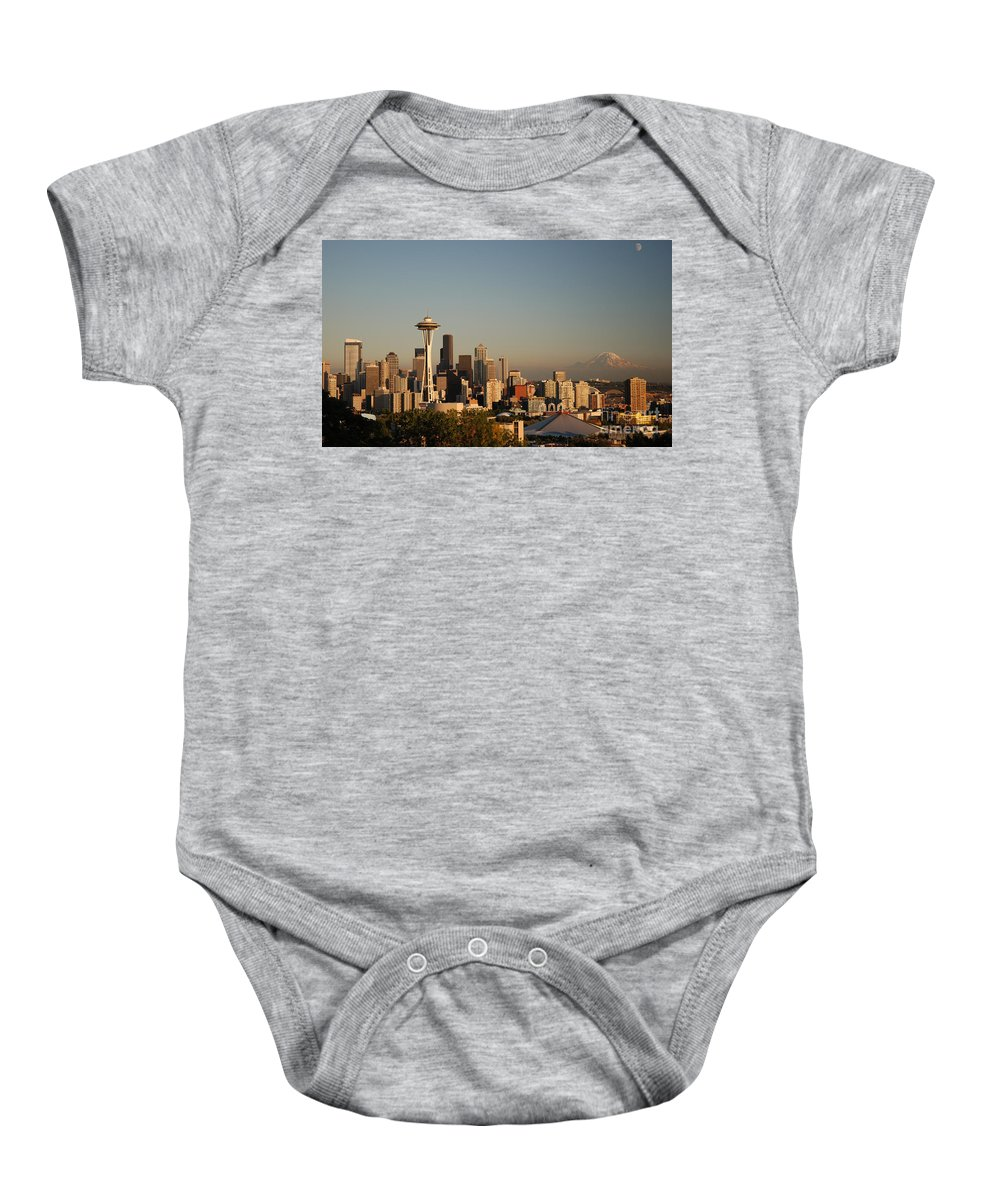 Panorama Baby Onesie featuring the photograph Seattle Sunset by Jim Chamberlain