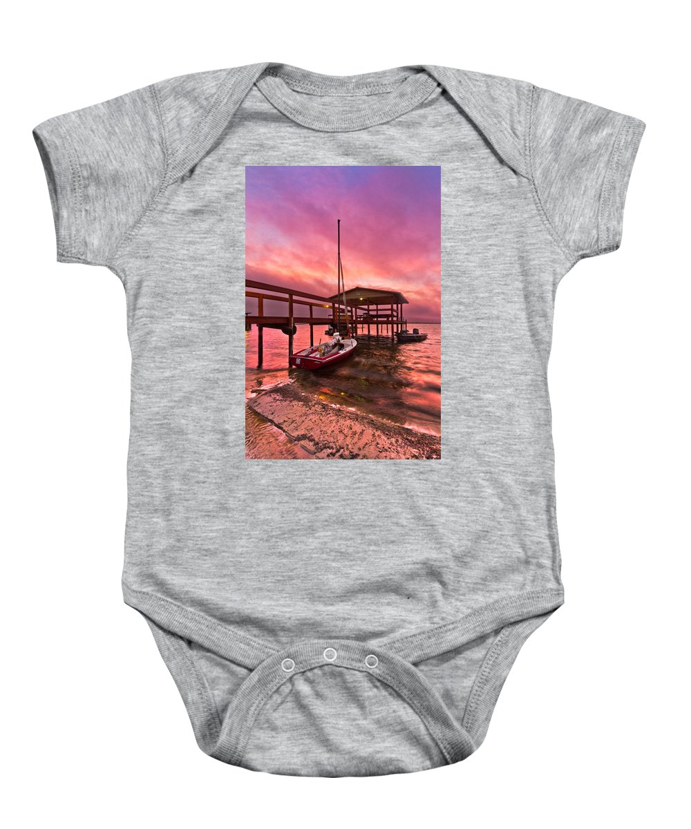 Clouds Baby Onesie featuring the photograph Sebring Sailing by Debra and Dave Vanderlaan