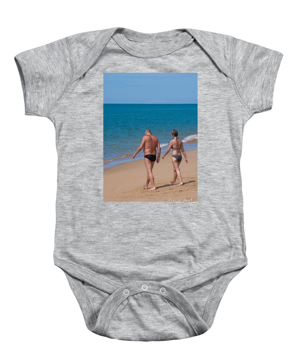 Attractive Beach Couple Cute Husband Life Lifestyle Love Lovers Baby Onesie featuring the photograph Senior Elderly Lover Couple by Atiketta Sangasaeng