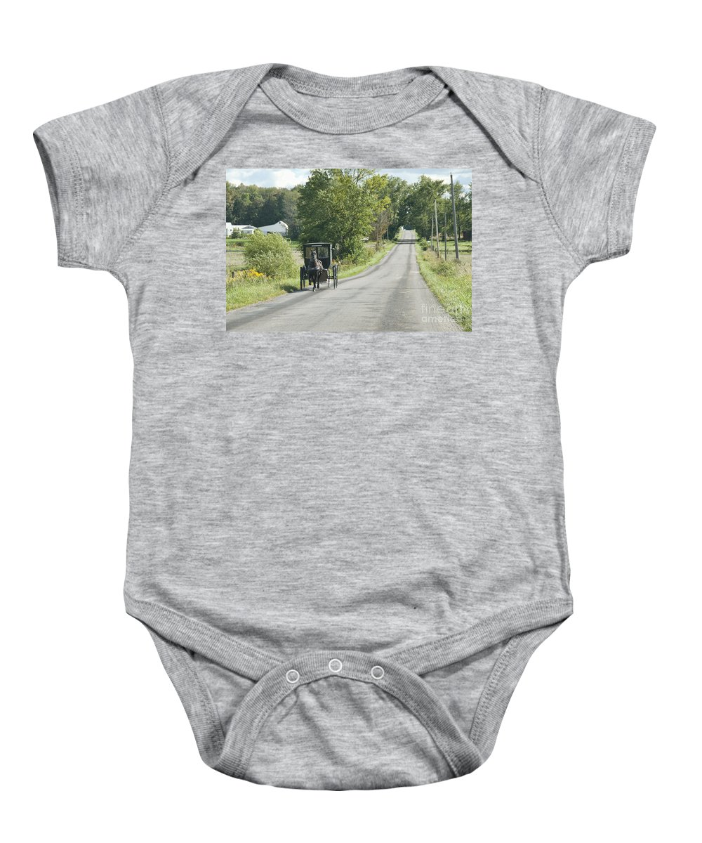 Amish Baby Onesie featuring the photograph September Roads by David Arment