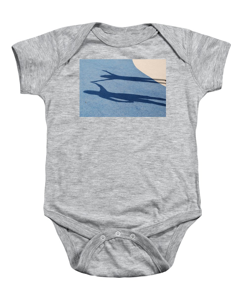 Shadow Baby Onesie featuring the photograph Shadow Friends by Richard Bryce and Family