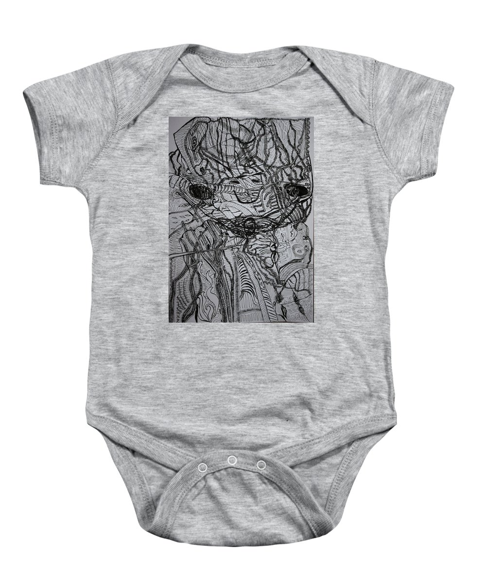 Jesus Baby Onesie featuring the drawing Shango by Gloria Ssali