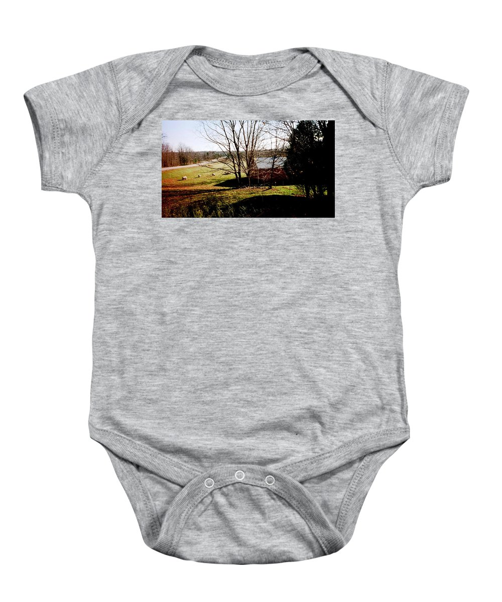 Sheep Baby Onesie featuring the photograph Sheep Farm by April Patterson