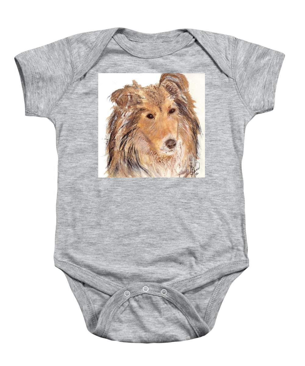 Portrait Of Sheltie Baby Onesie featuring the painting Sheltie by Shelley Jones