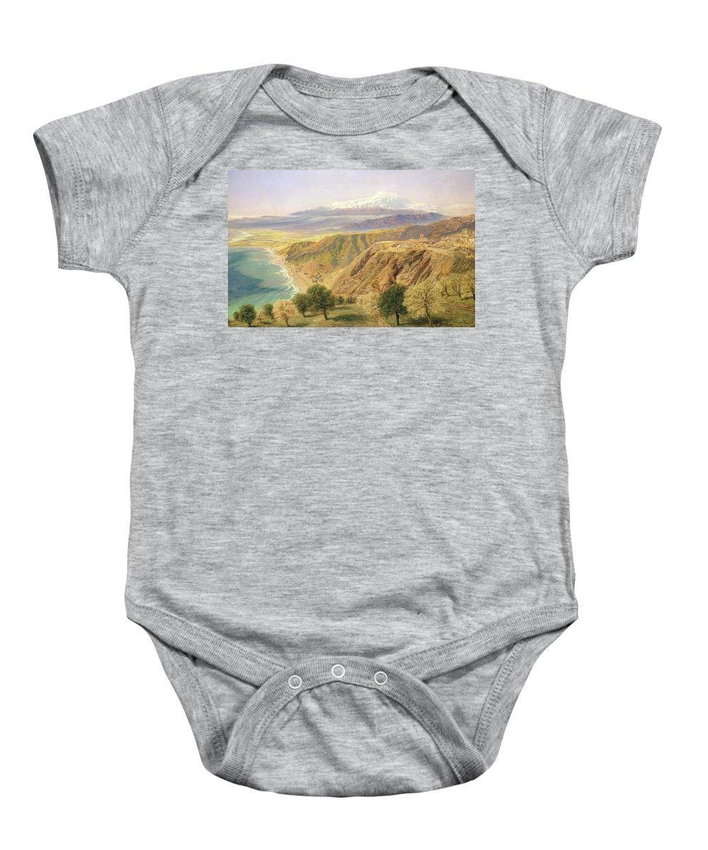 Landscape; Sicilian; Coastal; Coast; Coastline; Sicily; Taormina; Mountain; Mountains; Tree; Trees Baby Onesie featuring the painting Sicily - Taormina by John Brett