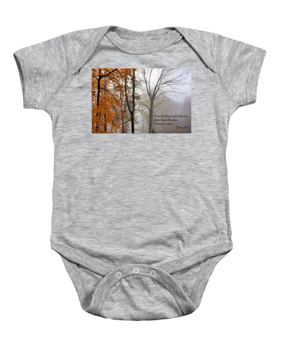 Autumn Baby Onesie featuring the photograph Silence by Kristin Elmquist