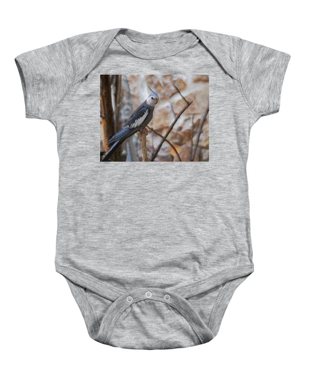 Cockatiels Baby Onesie featuring the photograph Sitting Pretty by Ernie Echols
