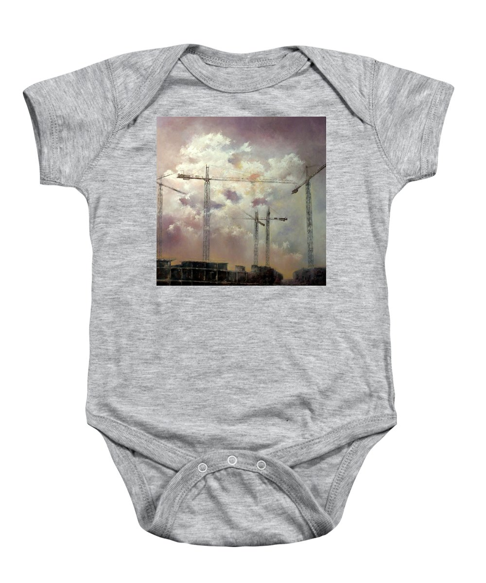 Sky Baby Onesie featuring the painting Sky With Clouds by Tomas Castano