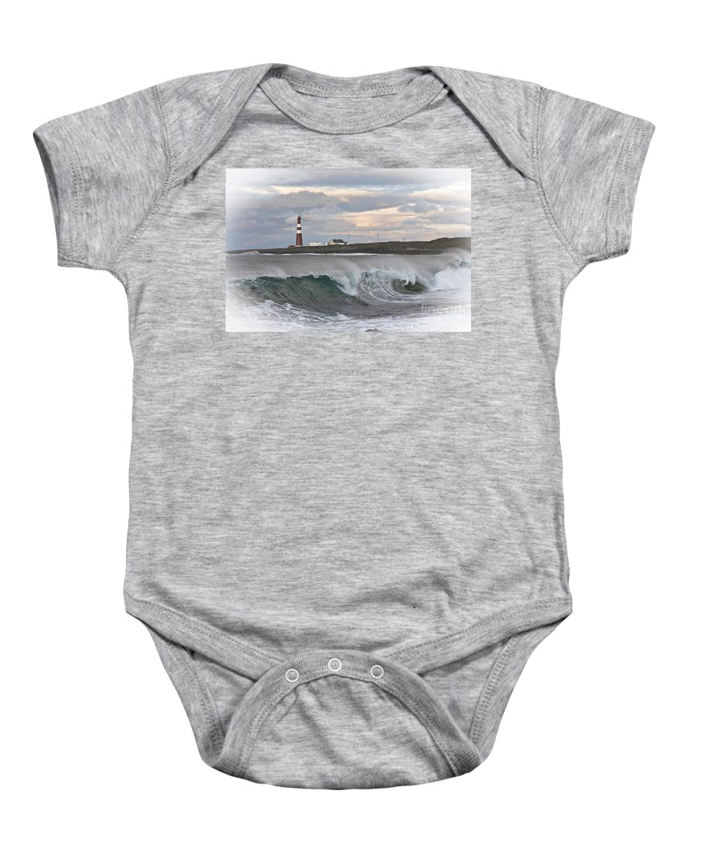 Landscape Baby Onesie featuring the photograph Slettnes Beacon by Heiko Koehrer-Wagner