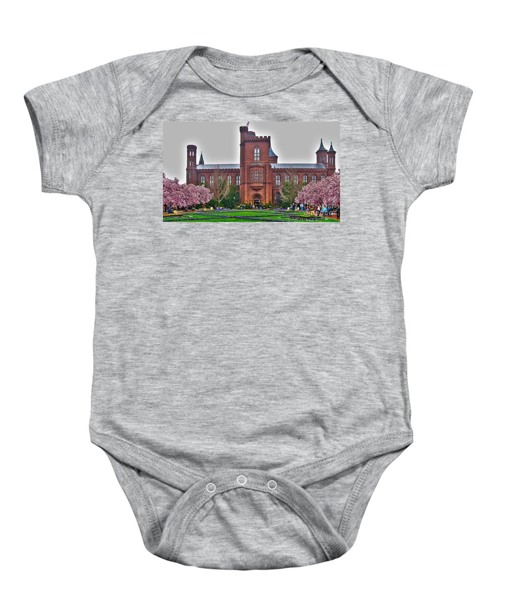 Smithsonian Castle Baby Onesie featuring the photograph Smithsonian Castle by Jack Schultz
