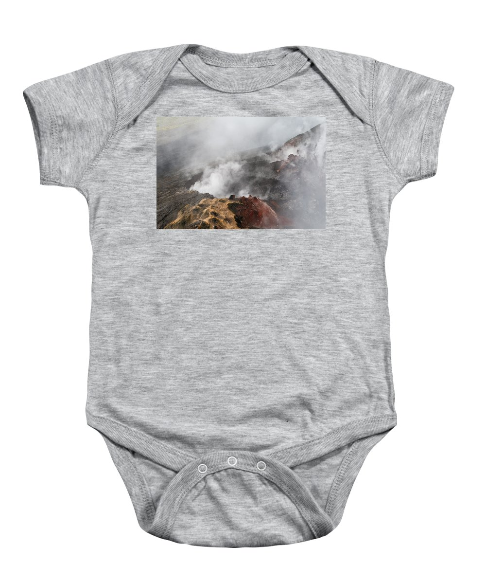 Aerial Photography Baby Onesie featuring the photograph Smoking Fields by Alina Oswald
