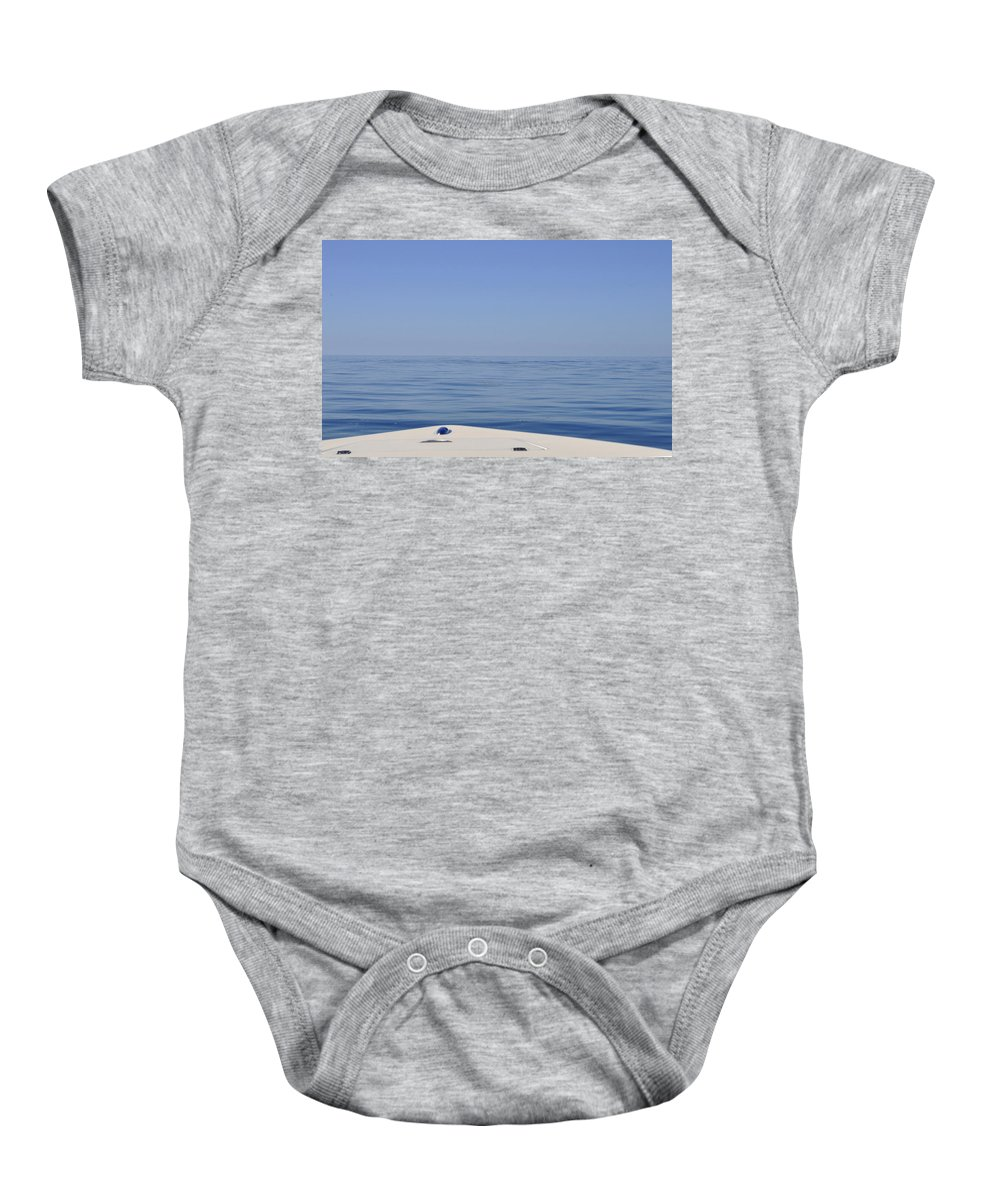 Horizon Off The Bow Baby Onesie featuring the photograph Smooth Seas Ahead by Christine Stonebridge